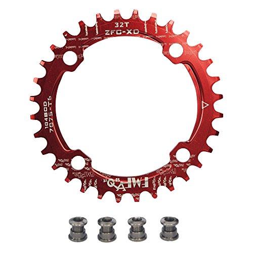 upanbike Bike schmal breit Kettenblatt 104BCD Runde Form Single Kette Ring 32Z 34T 36T Pin, rot
