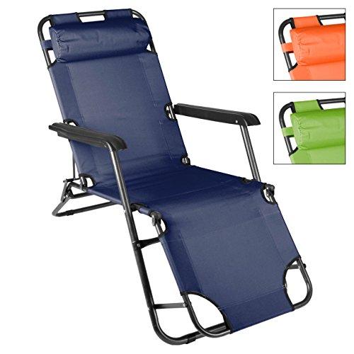 Liegestuhl Campingstuhl mit Liegefunktion Sonnenliege mit Kopfpolster Strandliege klappbar für...