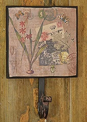 Patère vintage fer plaque esthétique Crochets porte-manteaux Serviette Motif Support Antique garde-robe style shabby 4Crochet porte-manteau cadeau image Chic
