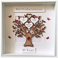 Personalised 40 Years Ruby Wedding Anniversary Family Tree 3D Box Frame Picture Keepsake Wedding Gift Home Christmas Birthday Mothers Day Mum Love