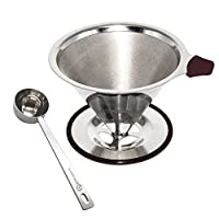Paperless Pour Over Coffee Dripper by Possiave - Permanent Reusable Stainless Steel Durable Cone Coffee Filter - Best Coffee Maker Fits Any Cup for Carafes(silver)