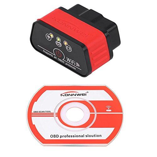 Preisvergleich Produktbild Qiilu KONNWEI KW903 WIFI ODBII Auto Diagnose Scanner Werkzeug Fehlererkennung für IOS Android(Swar+Rot)