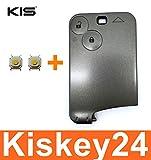 KIS® Ersatz 2Tasten Schlüsselkarte Schlüssel Gehäuse für Renault Megane Scenic Laguna + 2x Taster