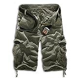 YaoDgFa Herren Cargo Shorts Bermuda Hose Urban Vintage Legend Kurze 3/4 Sommer Airborne Knielänge Outdoor
