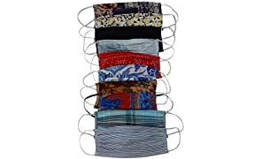 Aditi Wasan AW-MSKDRCT012-10 Pack of 10 Unisex Cotton Double Layer Printed Multi color Face Masks - Assorted Colors & Prints