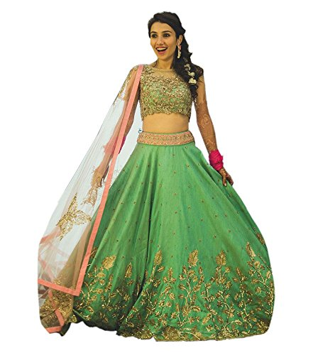 Dhruv Fab Women's Green color banglore silk Lehenga Choli (Free Size )