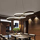 YiCan Araña - Acrílico/Aluminio Personalizado Nota Musical Forma De Anillo Restaurante Lámpara LED, De Tres Colores Regulable, LED 58W Parche (75x32cm) Vale la pena Tener