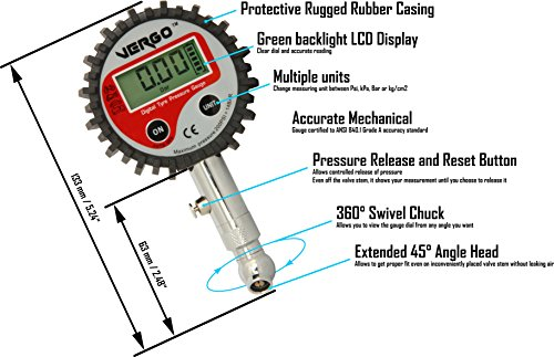 VERGO-Manometro-Digitale-Prova-Pressione-Pneumatici-LCD-Retroilluminato-Scala-Multipla-0-200-PSI-0-138-Bar-Auto-Camion-Moto-Bici-360-Gradi-Rotazione-Bottone-per-Mantenimento-della-Pressione