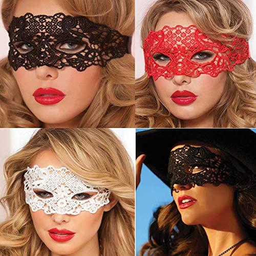 Dusenly 4 stücke Maskerade Kostüm Maske Halbes Gesicht Sexy Spitzenmasken für Männer Frauen Party Ball Kostüm Halloween (Sexy Kostüm Mann)