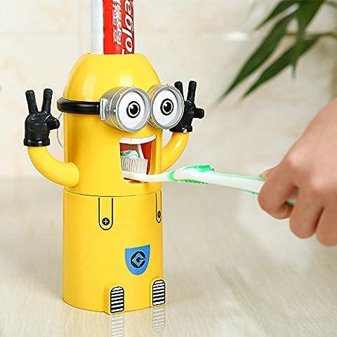 VIVISKY mural 2 yeux Minions Dentifrice Distributeur et porte brosse à dents Set automatique de dentifrice Squeezer