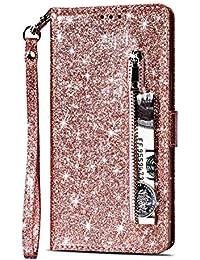 Yobby Glitzer Brieftasche Hülle für Samsung Galaxy Note 8, Roségold Handyhülle Bling Slim Reißverschluss Leder Schutzhülle Flipcase [Stand-Funktion] mit Kartenfach und Handschlaufe