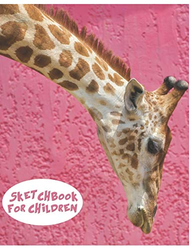 Sketchbook For Children: Cute Giraffe Sketchbook for Kids Animal Lovers to Sketching, Whiting, Drawing, Journaling and Doodling (8.5x11) 120 Blank Pages (Pink&Brown&White Pattern) -