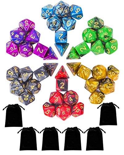 iFergoo 42 Pezzi Dadi Poliedrici da Gioco Doppio-Colore per RPG Dungeons e Dragons Pathfinder, 6 Set di DND MTG RPG d20, d12, 2 d10 (00-90 e 0-9), d8, d6 e d4