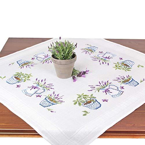 Stickpackung Lavendel, Komplettes vorgezeichnetes Kreuzstich Tischdecken Set zum Sticken, Stickset mit Stickvorlage