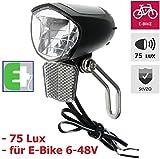 P4B StVZO - Faro a LED per bicicletta, 75 lux, per bici elettriche, colore: Nero