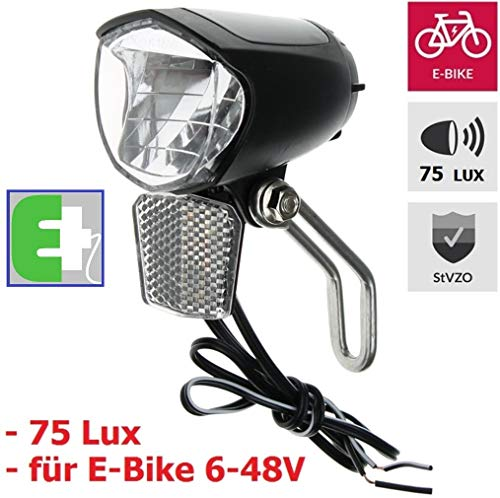 P4B LED Fahrrad-Scheinwerfer 75 Lux für E-Bike - Schwarz/StVZO