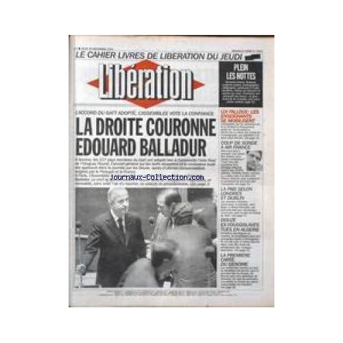 LIBERATION [No 3910] du 16/12/1993 - LA DROITE COURONNE BALLADUR LIVRES - PLEIN LES HOTTES LOI FALLOUX - LES ENSEIGNANTS SE MOBILISENT LA PAIX SELON LONDRES ET DUBLIN LA PREMIERE CARTE DU GENOME