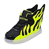 Sharplace Skateboard Schuhe Flügel Turnschuhe Jungen Mädchen Wanderschuhe Schuhe mit LED Lichter blinken Schuhe - Schwarz Grün, 27