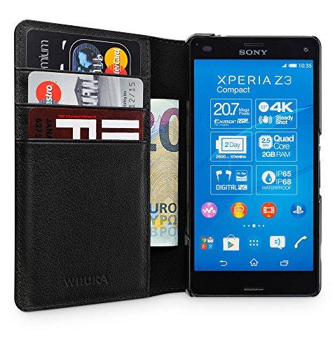 WIIUKA Echt Ledertasche -TRAVEL Away- für Sony Xperia Z3 Compact, mit Vier Kartenfächern, extra Dünn, Tasche Schwarz Premium Design Leder Hülle