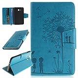 CareyNoce Galaxy Tab A 7.0 Funda,Diente de león,Mariposa,Flor,PlumaPattern PU Cuero Cover Stand Flip Funda Carcasas para Samsung Galaxy Tab A (7.0 pulgada) SM-T280/T285 -- Azul Diente de león