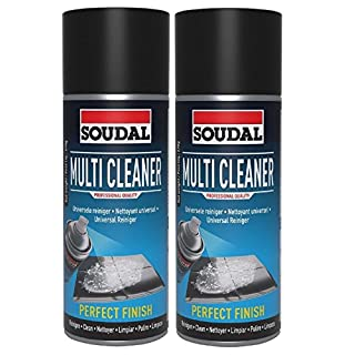 2 X 400ml Soudal Multi Cleaner Foam Aerosol Spray Cleaning Glass PVC Textiles Carpet