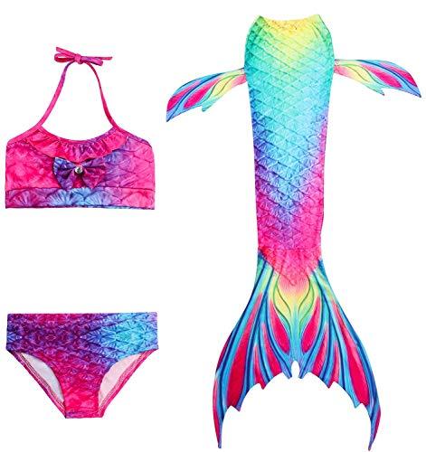 FANCYINN Mädchen Cosplay Kostüm Badeanzüge 3 Pcs und Bikini and Meerjungfrauenschwanz zum Schwimmen ohne Meerjungfrau Flosse 2801 Blau 120