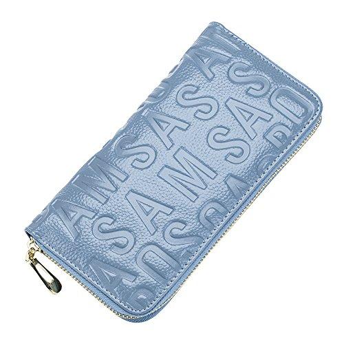 Damen Leder Briefprägung Geldbörse Blau Reißverschluss Mode Dauerhaft Elegant Telefon Halter Brieftasche (Schlüssel Volcom)