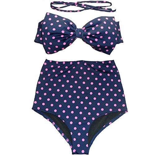 FY Damen High Waist Bademode Elegant Bikini Set Bade Badeanzug Sexy Leopard Print Bademode Beachwear Dot