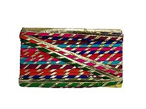 De-Ultimate Cwg0219 (9 Mtr,1cm Width) Multicolor Gota Laces and Borders for Bridal Dresses Suits Sarees Falls Lehengas Embroidery Trim Designing Embellishment Crafts