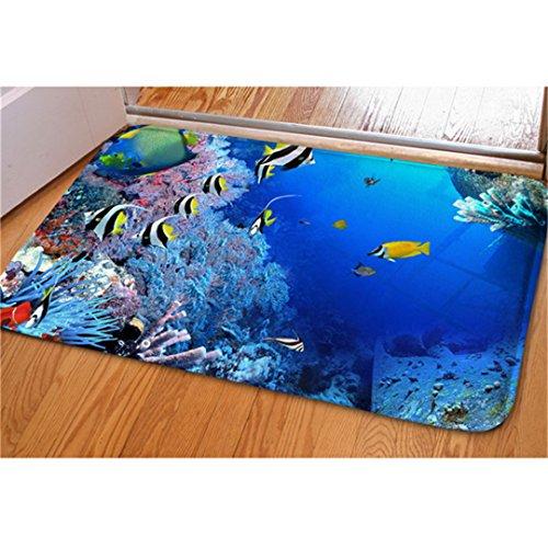3D Blue Ocean Front Reef tropische Fische Balkon Wohnzimmer Schlafzimmer Teppich - Tropische Scrub