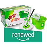 (Renewed) Scotch-Brite 2-in-1 Bucket Spin Mop (Green, 2 Refills)