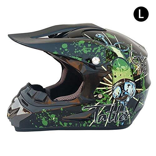 Katurn Motorradhelm Jethelm, Motorradfahrer Off Road Helm Männer und Frauen Allgemeine Kleine Helm Motorrad Jockey Ausrüstung Hellgrüne Spritze/L