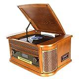 DLITIME Record Player con Dab y Radio FM/USB/RCA/AUX/Control Remoto/CD/Reproductor de Casetes Tocadiscos de Vinilo