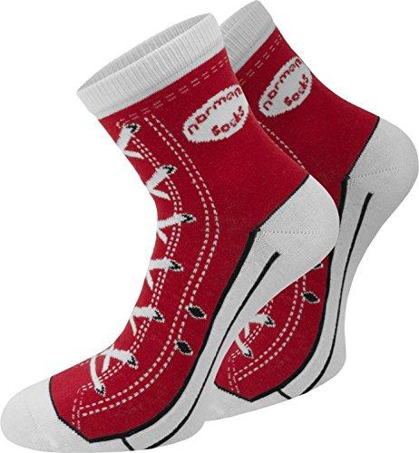 4 Paar Baumwoll Socken im Schuh - Design Farbe Rot Größe 39/42 (Baumwolle Socken Aus Rote)