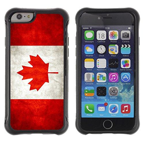 Graphic4You Holz Kanada kanadische Flagge Stoßfeste Anti-Rutsch Weichen Hülle Case Tasche Schale Schutzhülle für Apple iPhone 6 Plus / 6S Plus Drapeau Canadien Canada