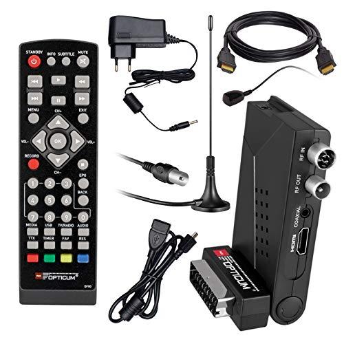 HB Digital DVB-T/T2 Set: Opticum HD AX Lion Air 2 HEVC DVB-T/T2 Receiver + Stabantenne, Magnetfuß DVB-T/T2, FM, DAB Passive Antenne (Full HD, HEVC/H.265, HDTV, HDMI, SCART, USB 2.0 DVBT DVBT2 DVB-T2) -