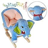 Schaukelpferd Elefant Schaukeltier Baby Schaukelpferd mit Sound Schaukelpferd Kinder Schaukeltier Plüsch Schaukelpferd ab 1 jahr
