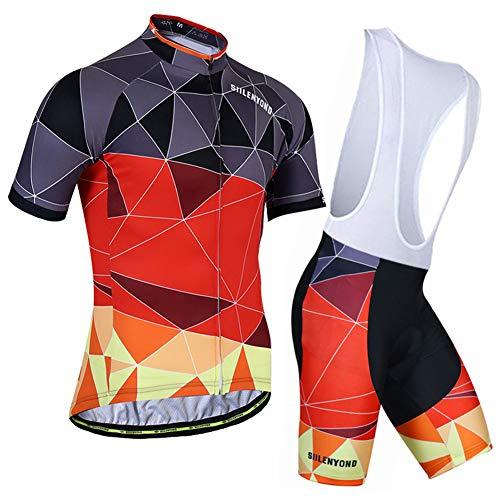 Bike Suit Fahrradbekleidung Mit 3 Elastischen Gesäßtaschen Race Fit - Gel Gepolsterte Trägerhose Combo-Set Für Reiten im Freien,L