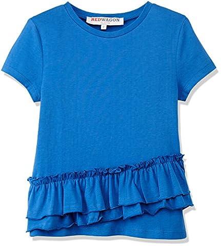 RED WAGON Blue Ruffle Tee, T-Shirt Fille, Bleu (Blue), 4