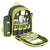 Savisto 4 Person Picnic Backpack Hamper Cooler Bag with Tableware Set & Blanket