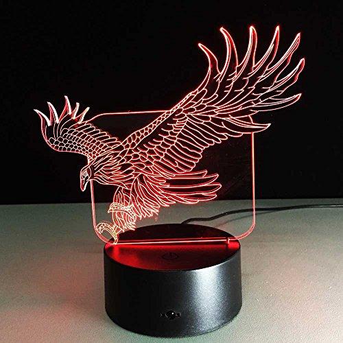 DGEG 3D Nachtlicht Kreative Handwerk Adler Bunte Touch Switch LED Gradient Vision Tischleuchte (Farbe : Colorful: Touch)