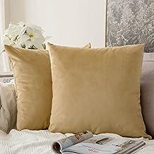 Juego de 2miulee terciopelo Soft Solid decorativa cuadrado Juego Fundas de almohada de lanzamiento Cojín Caso para sofá dormitorio Auto 18* 18pulgadas 45* 45cm