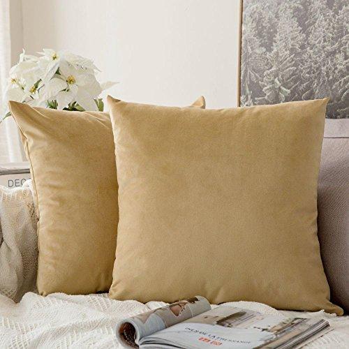 Miulee set di 2, velluto federe cuscini divano decorativo quadrato federa cuscino set custodia per divano letto auto 50x50cm 2 pacco cachi