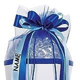 Unbekannt große 3-D Schleife - incl. Name / Text - 24 cm breit u. 54 cm lang - Kordel blau hellblau - für Geschenke und Schultüten