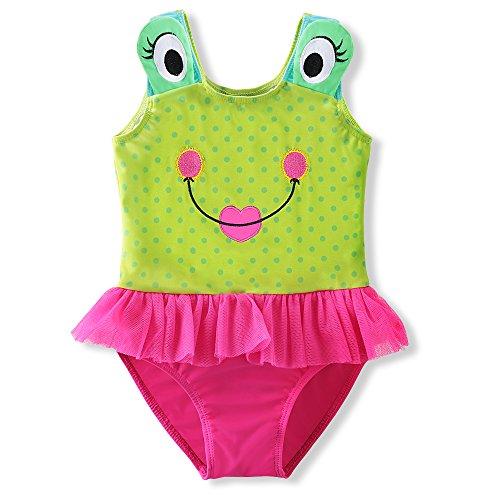 DAXIANG 1 Pièce Enfant Maillot de Bain Grenouille Mignon de Bande Dessinée avec Jupe Tulle Ruffle Bikini
