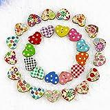 FENICAL Botones de madera 100 piezas en forma de corazón multicolor 2 botones de coser madera agujeros para coser y elaboración de DIY