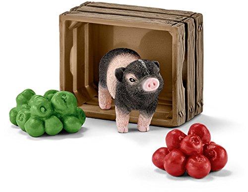 SCHLEICH 42292 42292-Mini Schwein mit Äpfeln, Mehrfarbig -