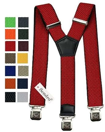 Hosenträger für Kinder breit extra starken 4 cm mit 3er Clips Y Form lange für Jungen und Mädchen Hose alle Farben (Rot)