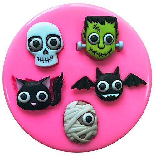 Fairie Blessings Silikonform für Kuchen und Cupcakes, Halloween, Motiv: Totenkopf mit Brillenaugen