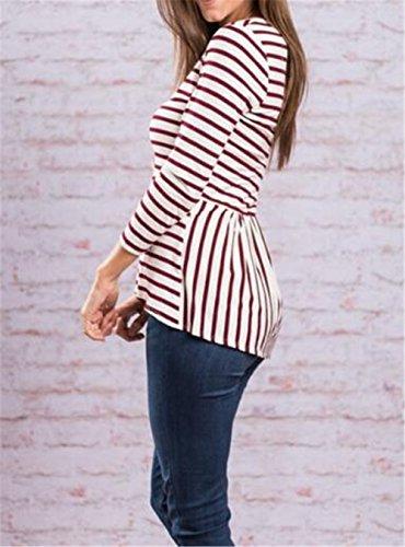 BESTHOO T-shirt Manches Longues Femme Haut Col Rond Tunique Rayé En vrac Leisure Tops IrrÉGuliÈRe Hem Blouse University Basique Chemises Détendu red